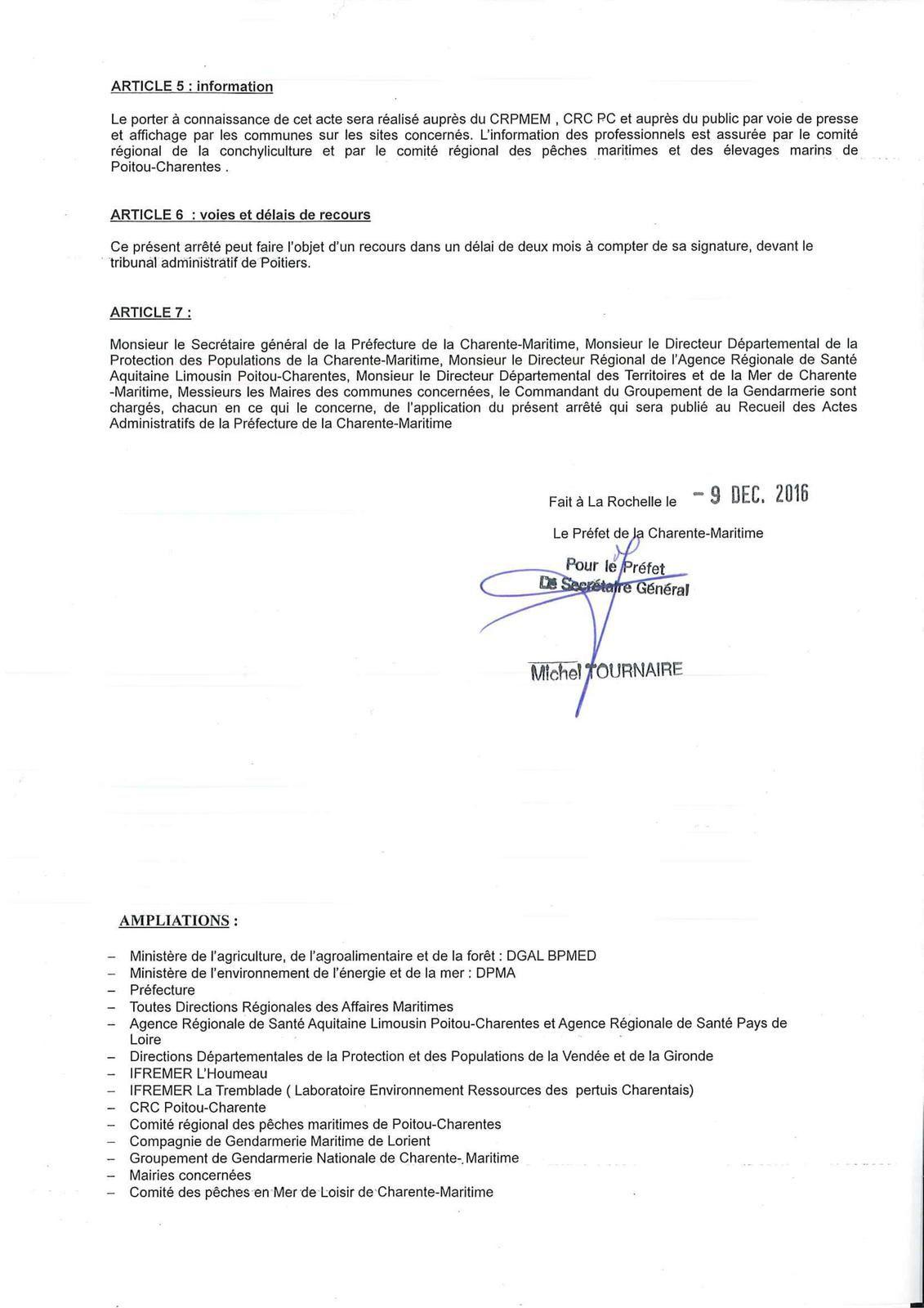 DDTM de la Charente Maritime: Arrêté préfectoral du 9 décembre 2016