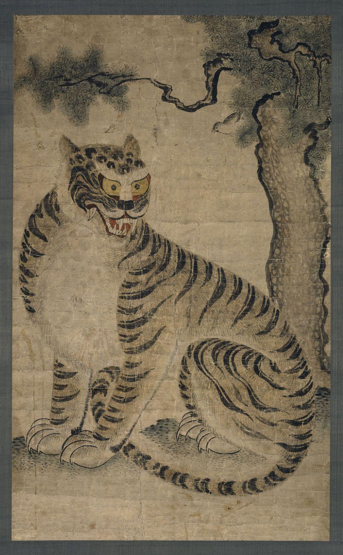Le tigre et le moineau, Dynastie Choson (1392- 1910), XVIIIe siècle, Couleurs sur papier