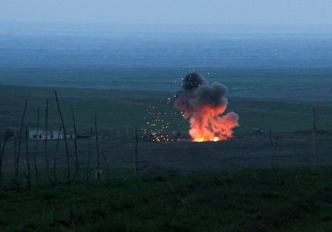 Explosion of a downed Azerbaijani drone © Vahram Baghdasaryan/Photolure, via Associated Press - Source: nytimes.com
