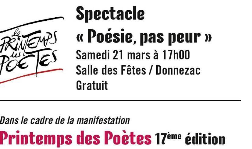 Spectacle Poésie pas peur - DONNEZAC - Samedi 21 MARS