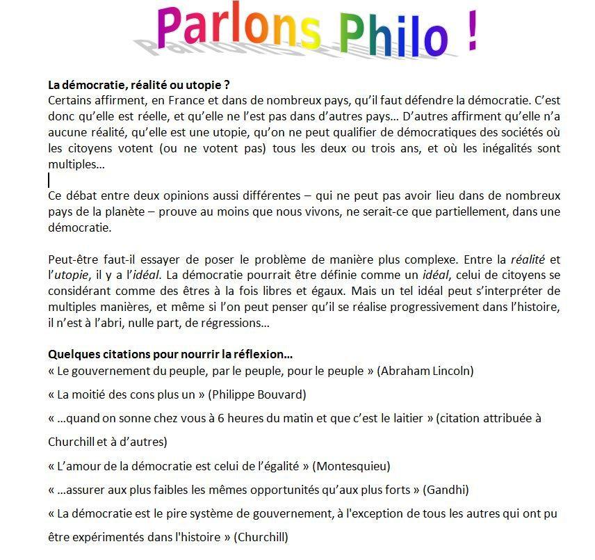 Parlons Philo - 27 mars- St Christoly - La démocratie, réalité ou utopie?