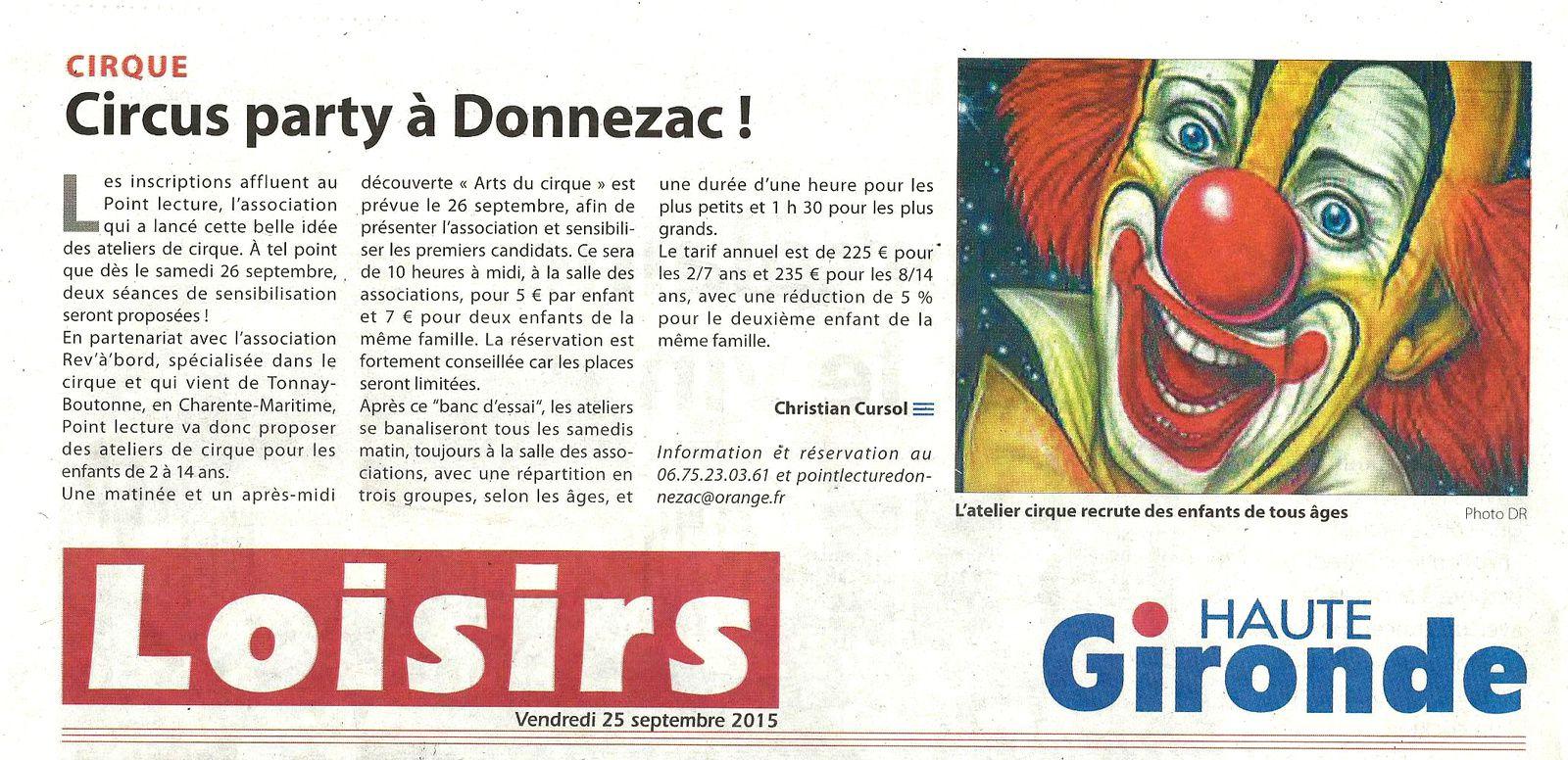 Les ateliers cirque débutent à Donnezac