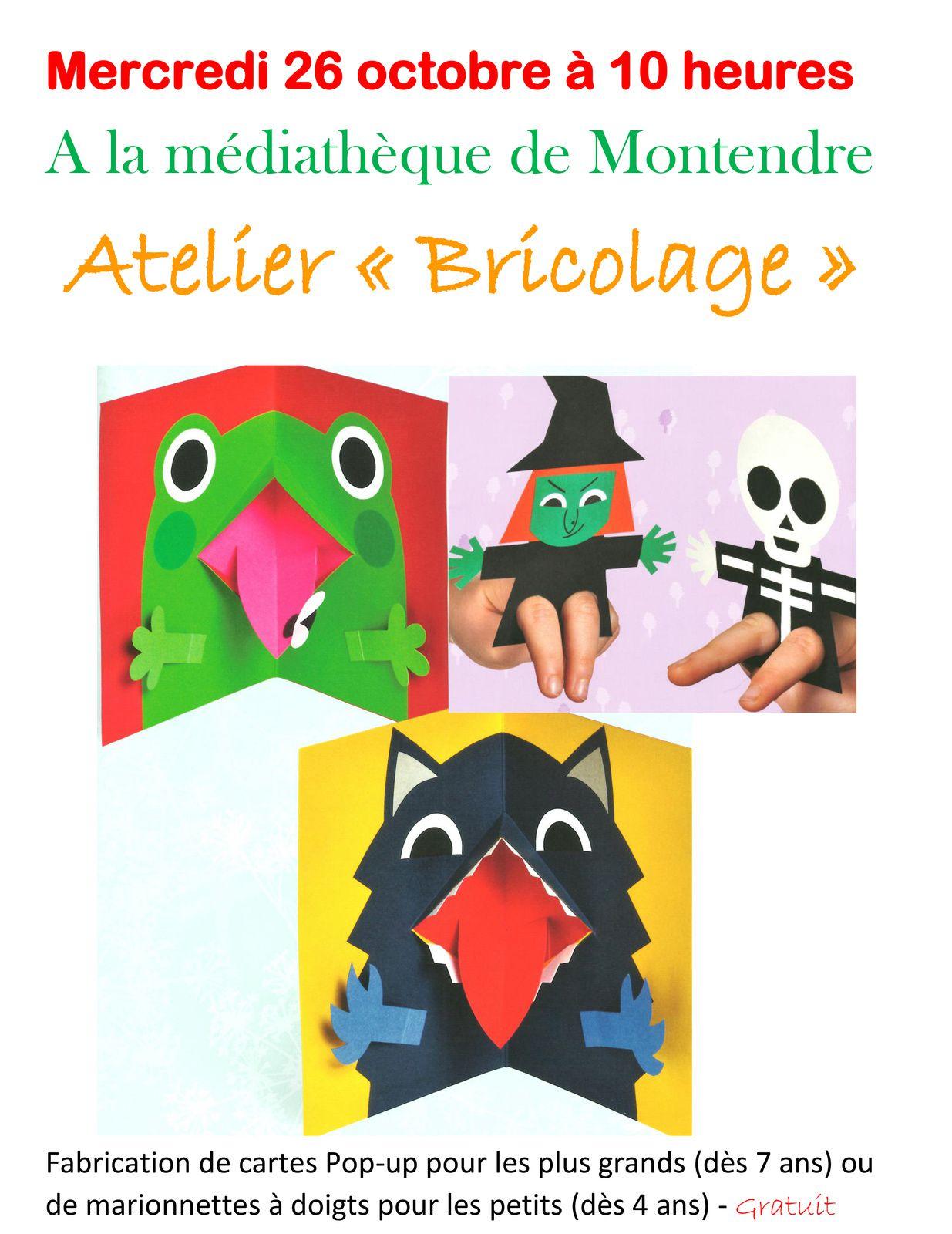 Atelier de cartes Pop-up à la bibli de Montendre le 26 octobre