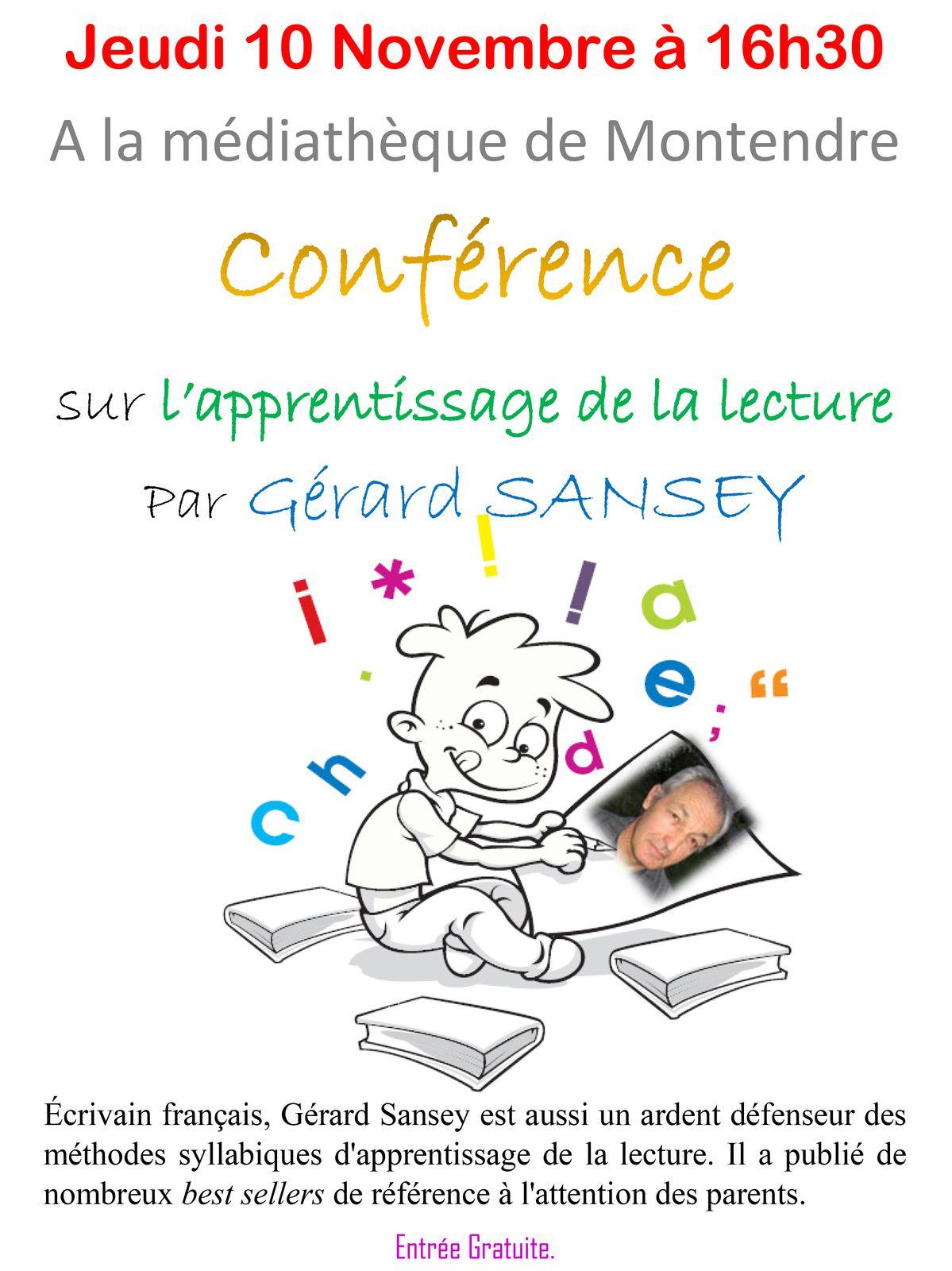 Conférence de Gérard Sansey sur la lecture le 10 novembre à la bibli de Montendre