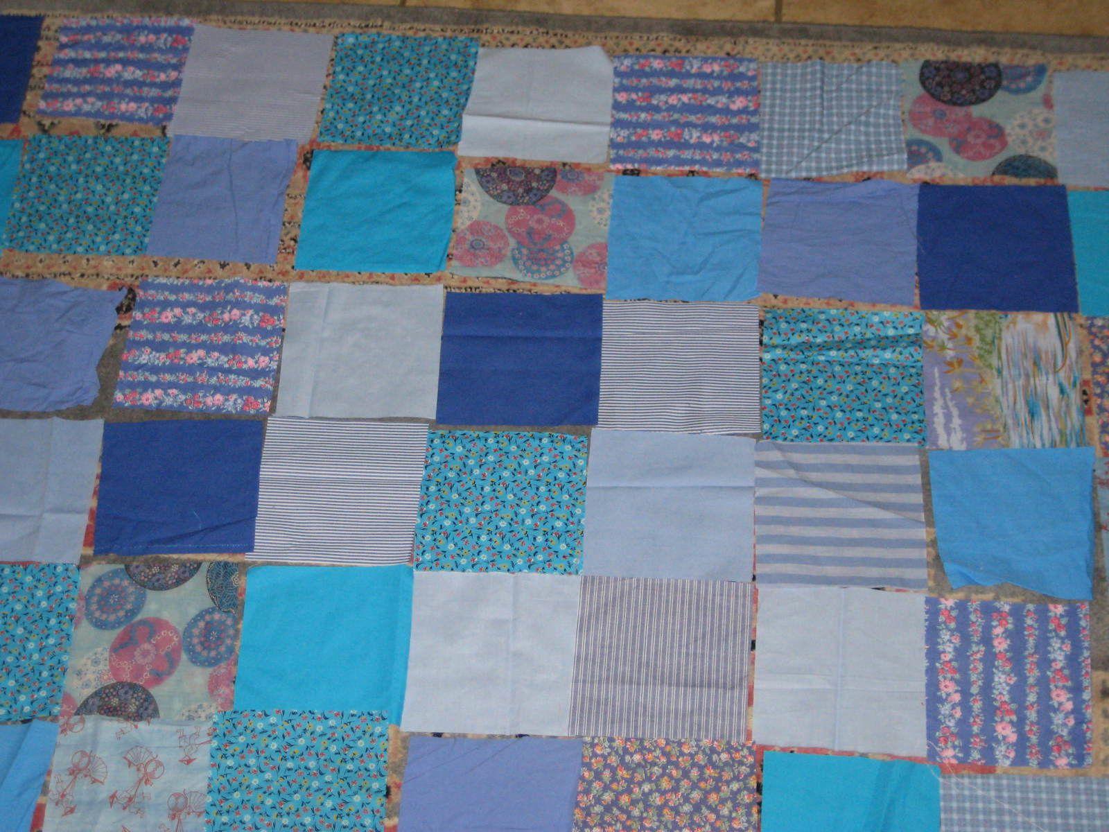 En-cours en bleu méditerranée : patchwork bleu