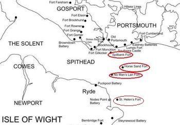 Position des Forts à l'entrée du bras de mer SOLENT