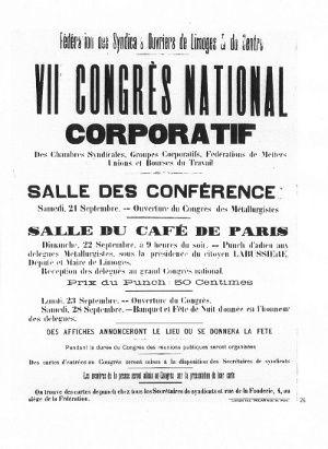Septembre 1895, naissance de la CGT au congrès de Limoges
