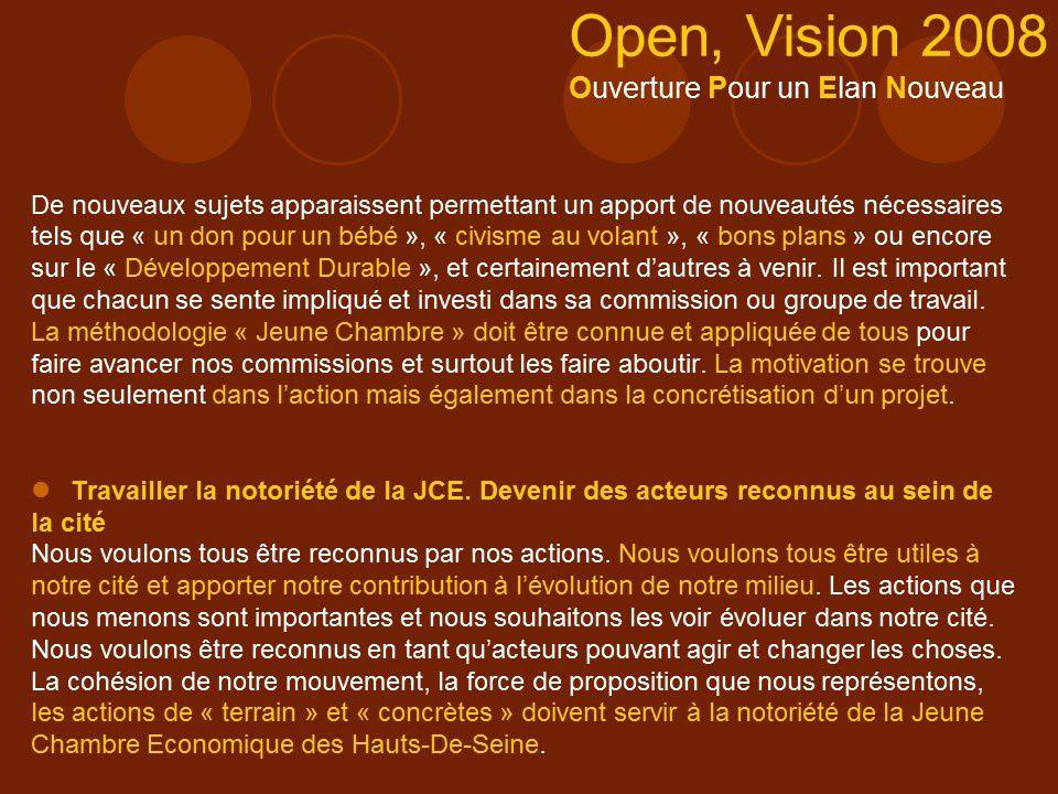 Campagne de l'équipe candidate &quot&#x3B;OPEN, Vision 2008&quot&#x3B; : Jeune Chambre Economique des Hauts-de-Seine