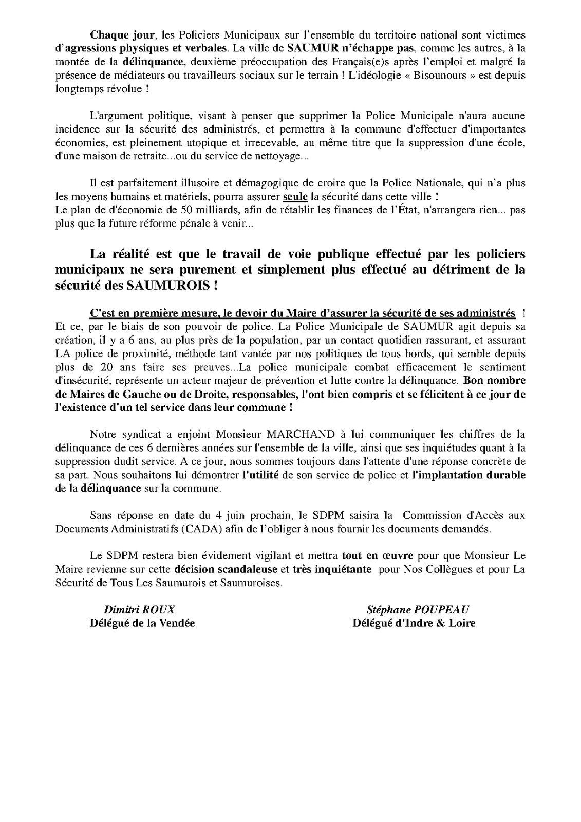 Saumur (49) : Fermeture de la police municipale par le Maire - Le SDPM entre en lutte