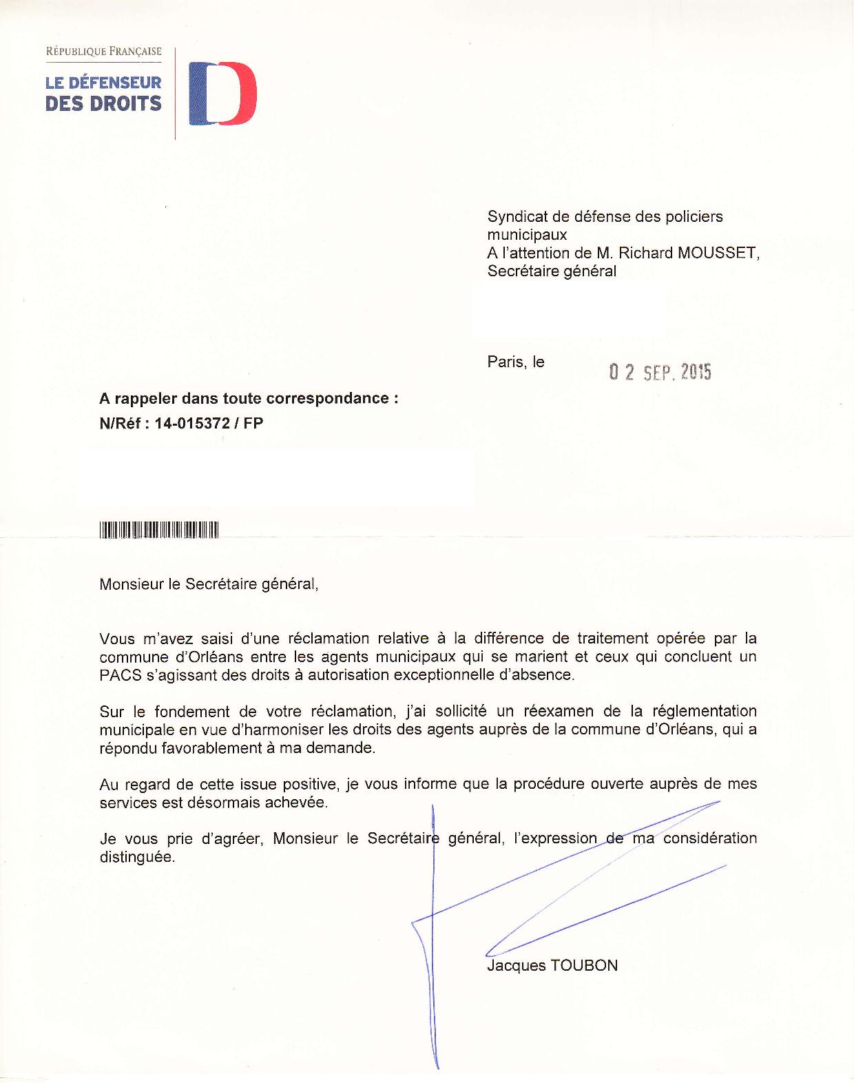 Orléans (45) : le SDPM fait respecter l'égalité de traitement entre fonctionnaires pacsés et mariés