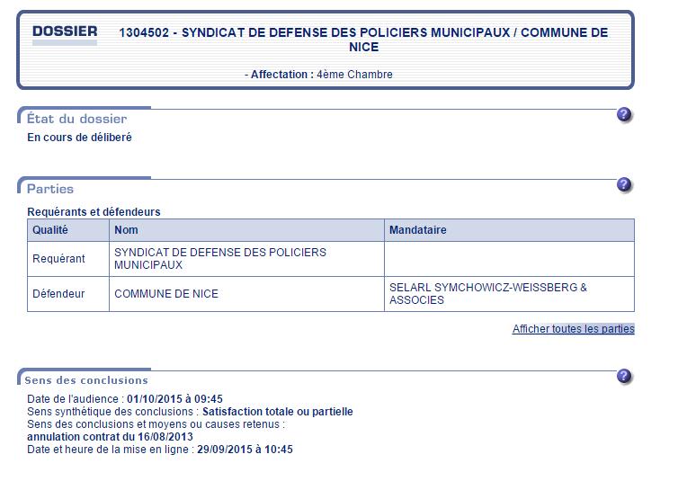 Nice (06) : le Rapporteur Public du Tribunal donne raison au syndicat contre la mairie !