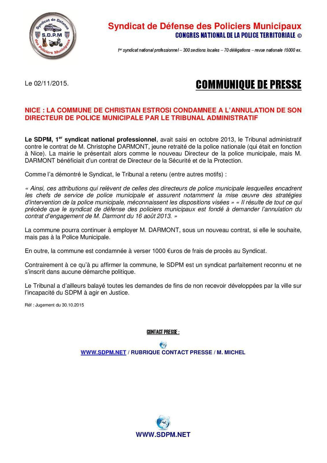 Communiqué / Nice : la mairie a été condamnée à l'annulation de son Directeur de Police Municipale (MAJ du 02/11/2015)