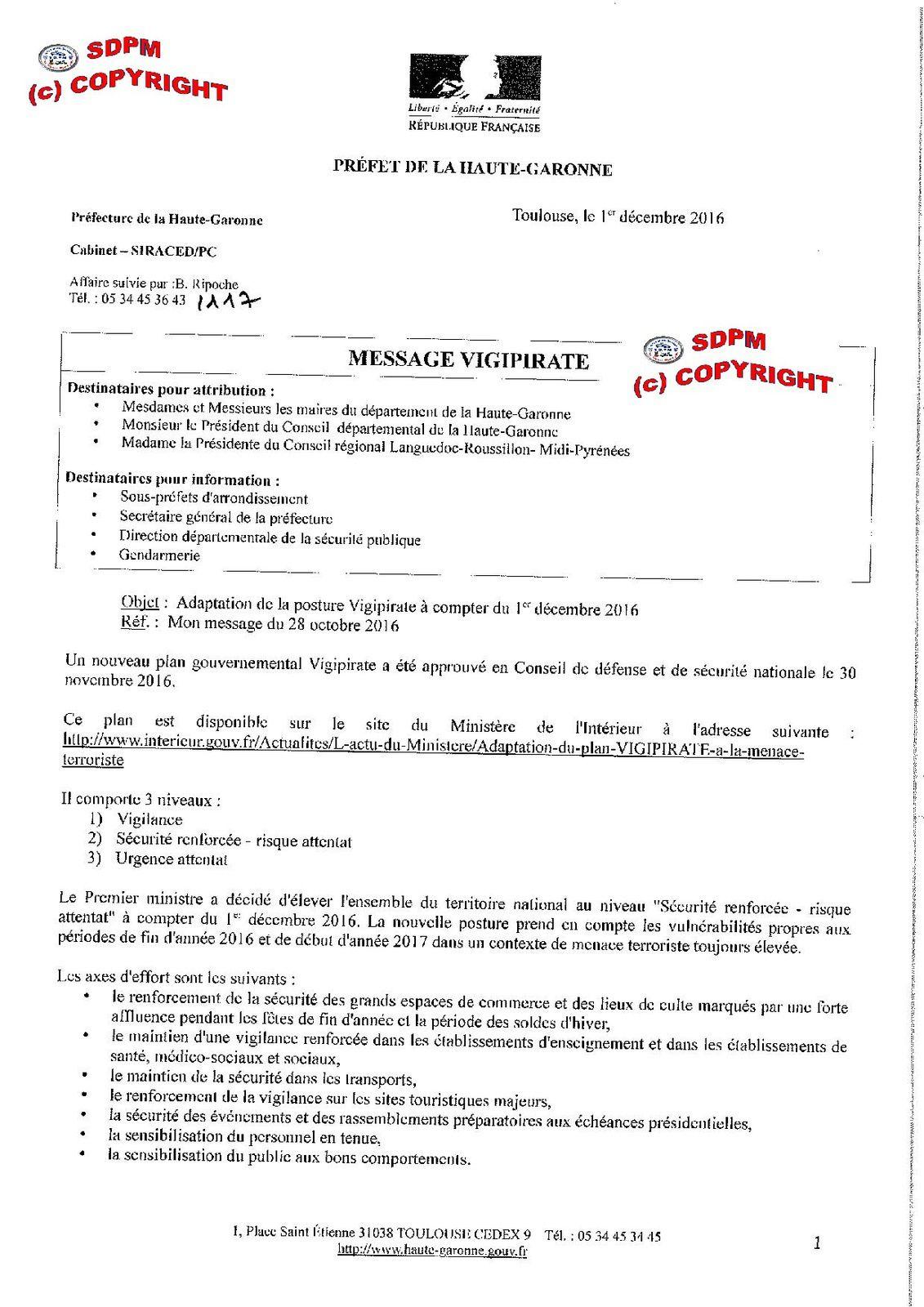 Note du 1/12/2016 : l'Etat demande l'implication des Policiers Municipaux dans le nouveau plan Vigipirate mais refuse de tous les armer !