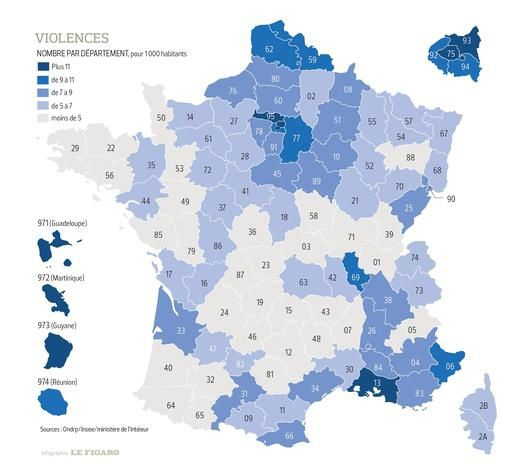 Cartes des crimes et délits en France et dans le Grand Paris