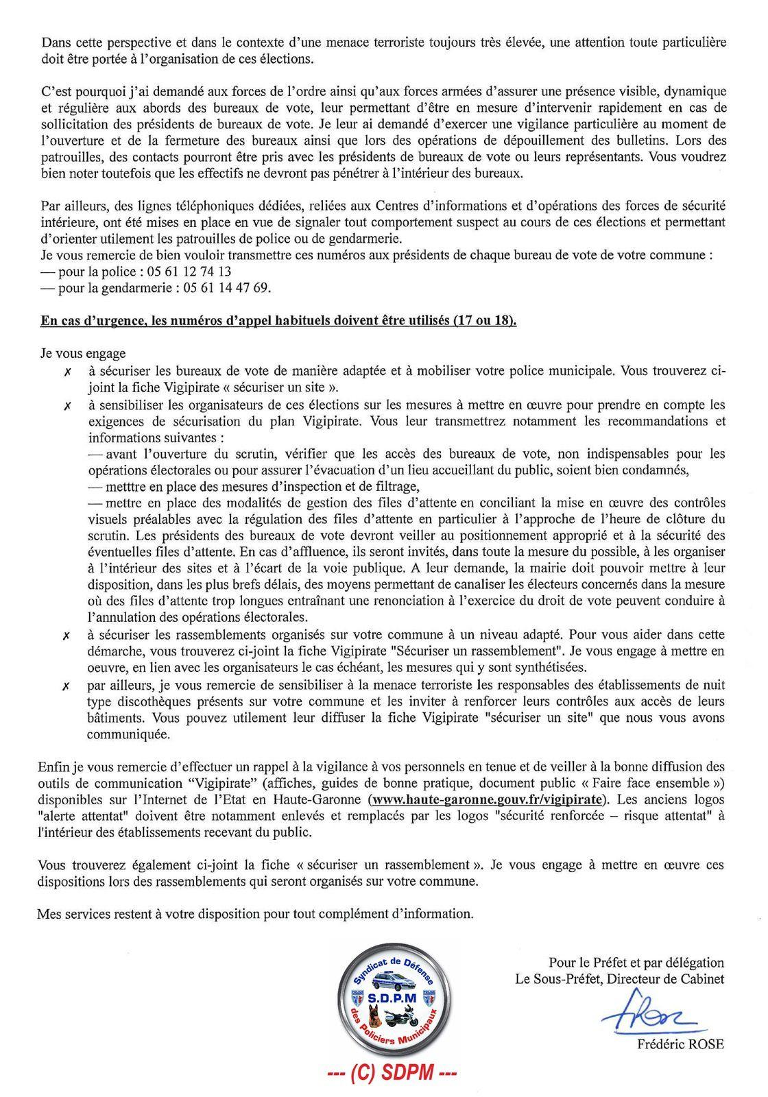 2nd tour : Vigipirate / Sécurisation des Bureaux de Vote