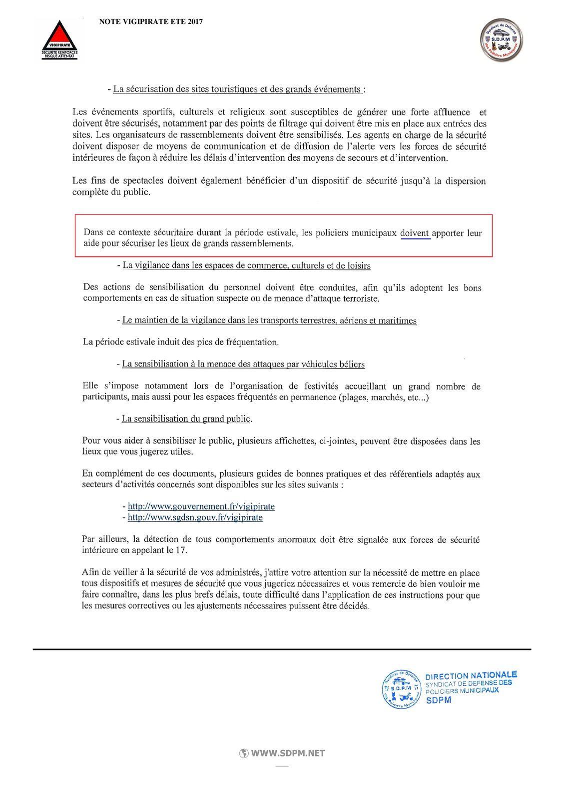 Circulaire Posture Vigipirate Eté 2017 - à l'attention des maires et des policiers municipaux