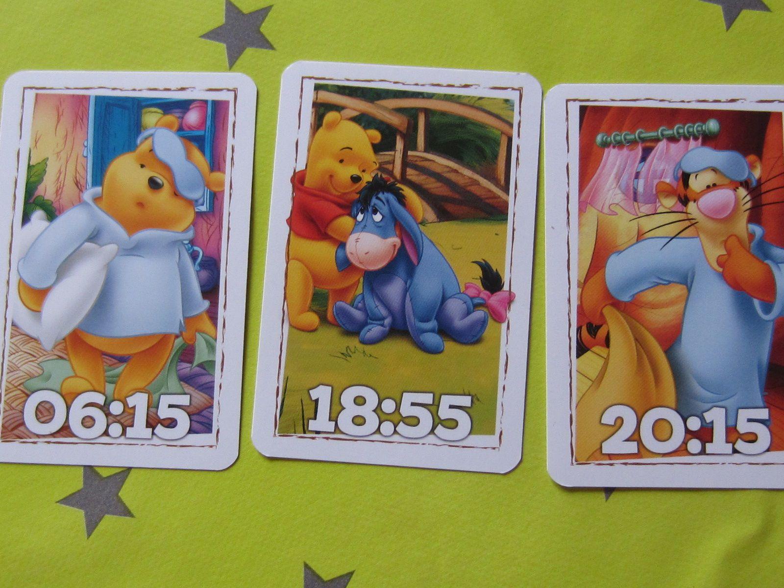 Ensuite il n'y a plus qu'à choisir une carte parmi les 30, l'enfant devra reporter l'heure sur son horloge, le petit plus l'indice que laisse les cartes &#x3B;)