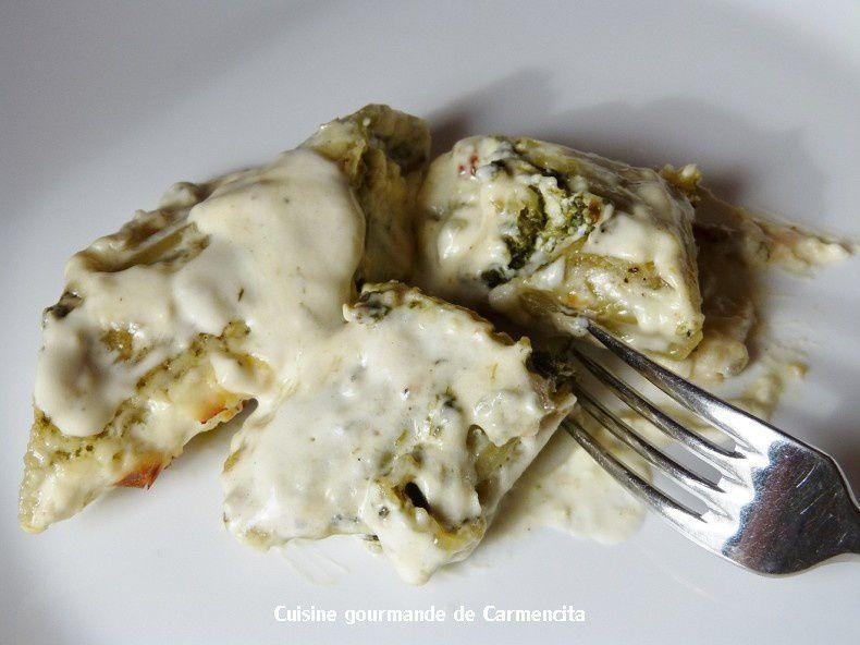 Pâtes Manicotti farcies aux épinards et aux trois fromages