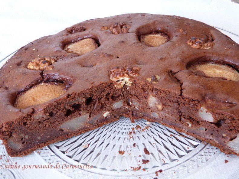 Gâteau poires chocolat et noix