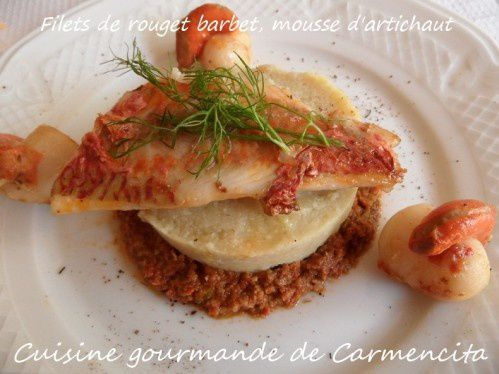 Filets de rouget barbet, mousse d'artichaut