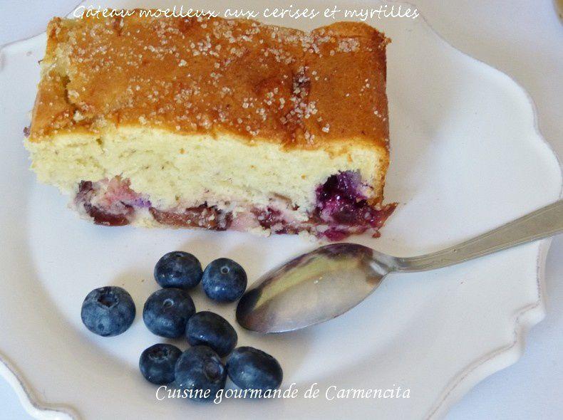 Gâteau moelleux aux cerises et myrtilles