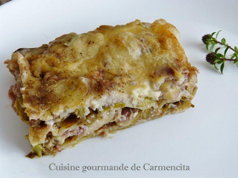 Lasagne aux poireaux, jambon et Gorgonzola