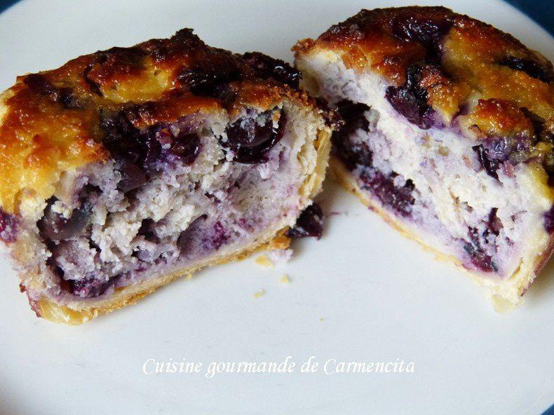 Gâteau feuilletés à la crème d'amande et myrtilles