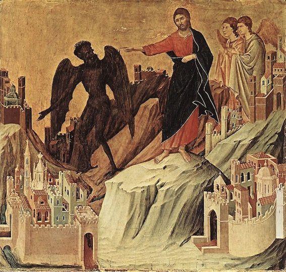La tentation au désert. Duccio di Buoninsegna. XIVe.