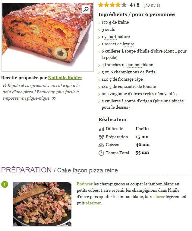 recette cake façon pizza reine