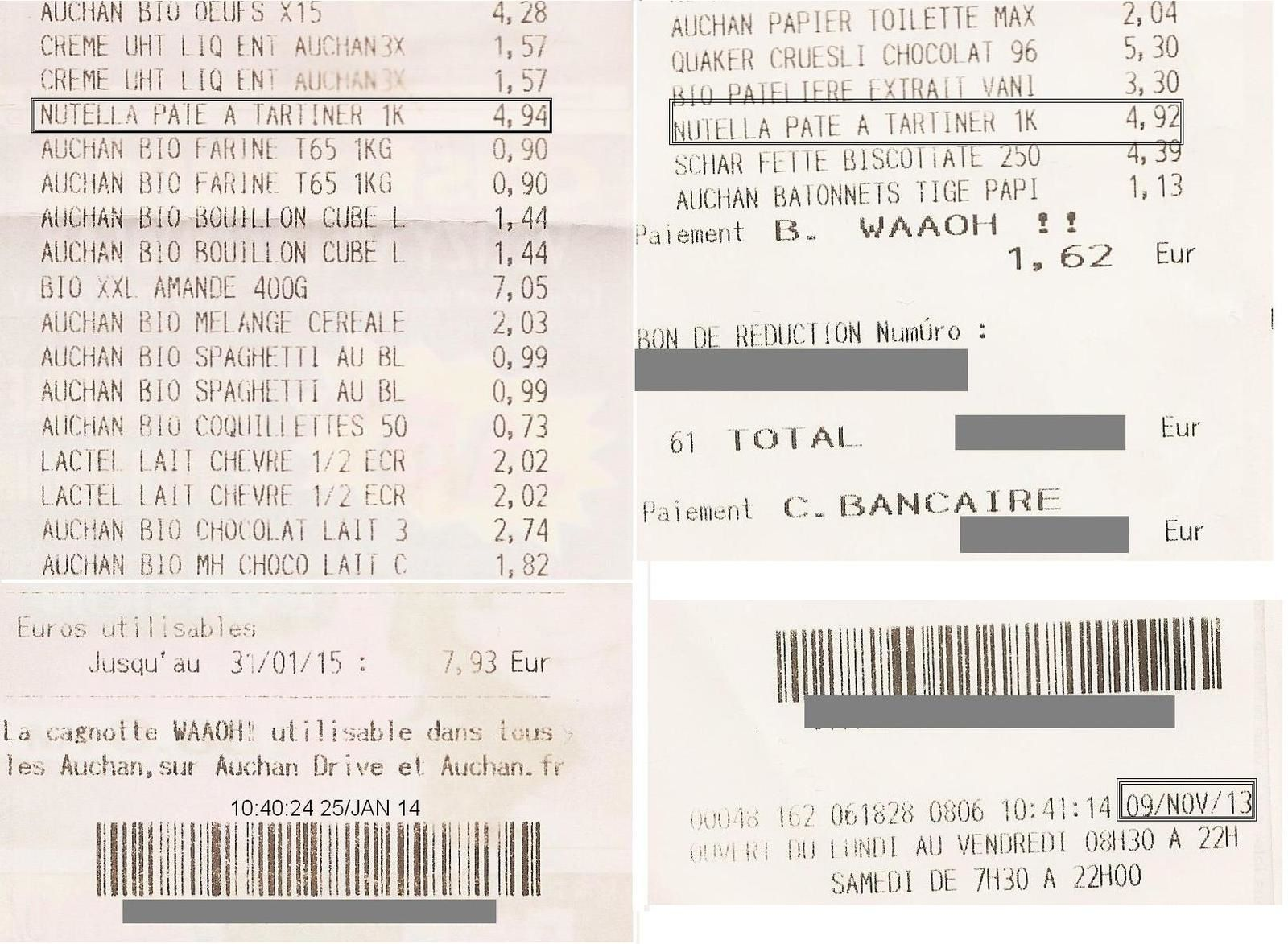 Tickets de caisse datant du 9 novembre 2013 et du 25 janvier 2014