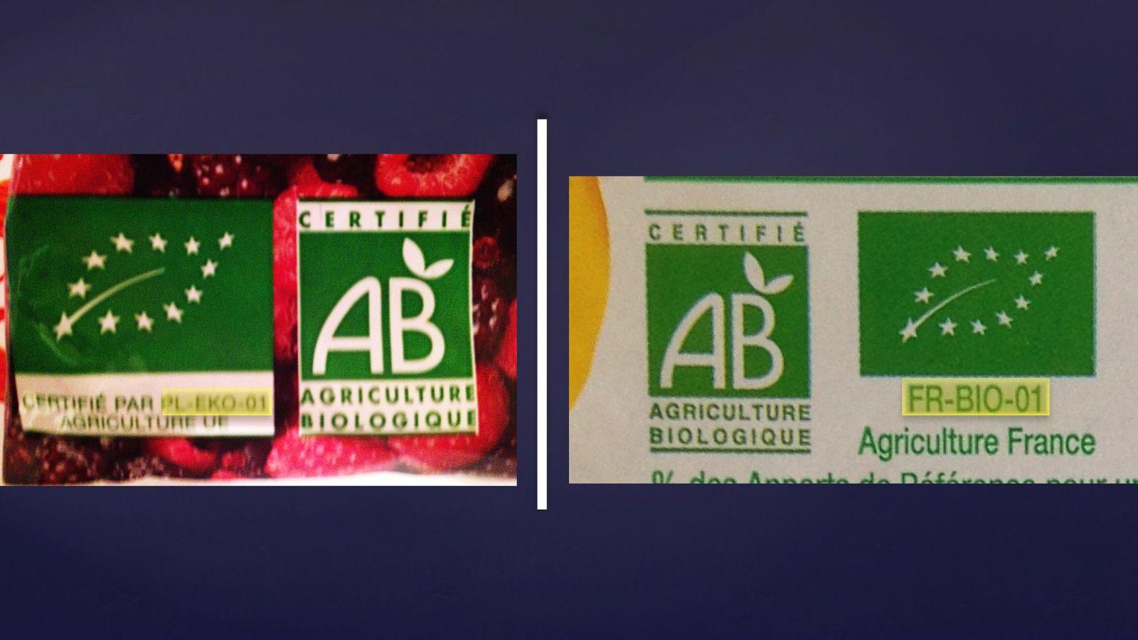 À gauche, l'emballage de fruits rouges bio surgelés de chez Picard et à droite l'emballage de chipolatas bio de chez Auchan