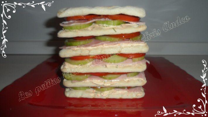 Sandwich cake aux crudités et jambon