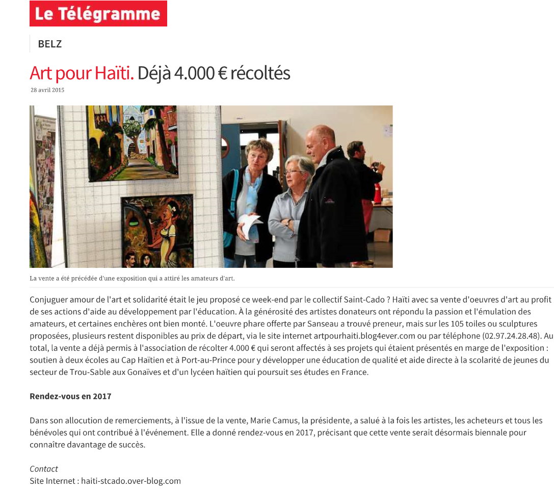 Le t l gramme 04 mai 2015 d j 4000 euros r colt s ha ti for Le divan 05 mai 2015