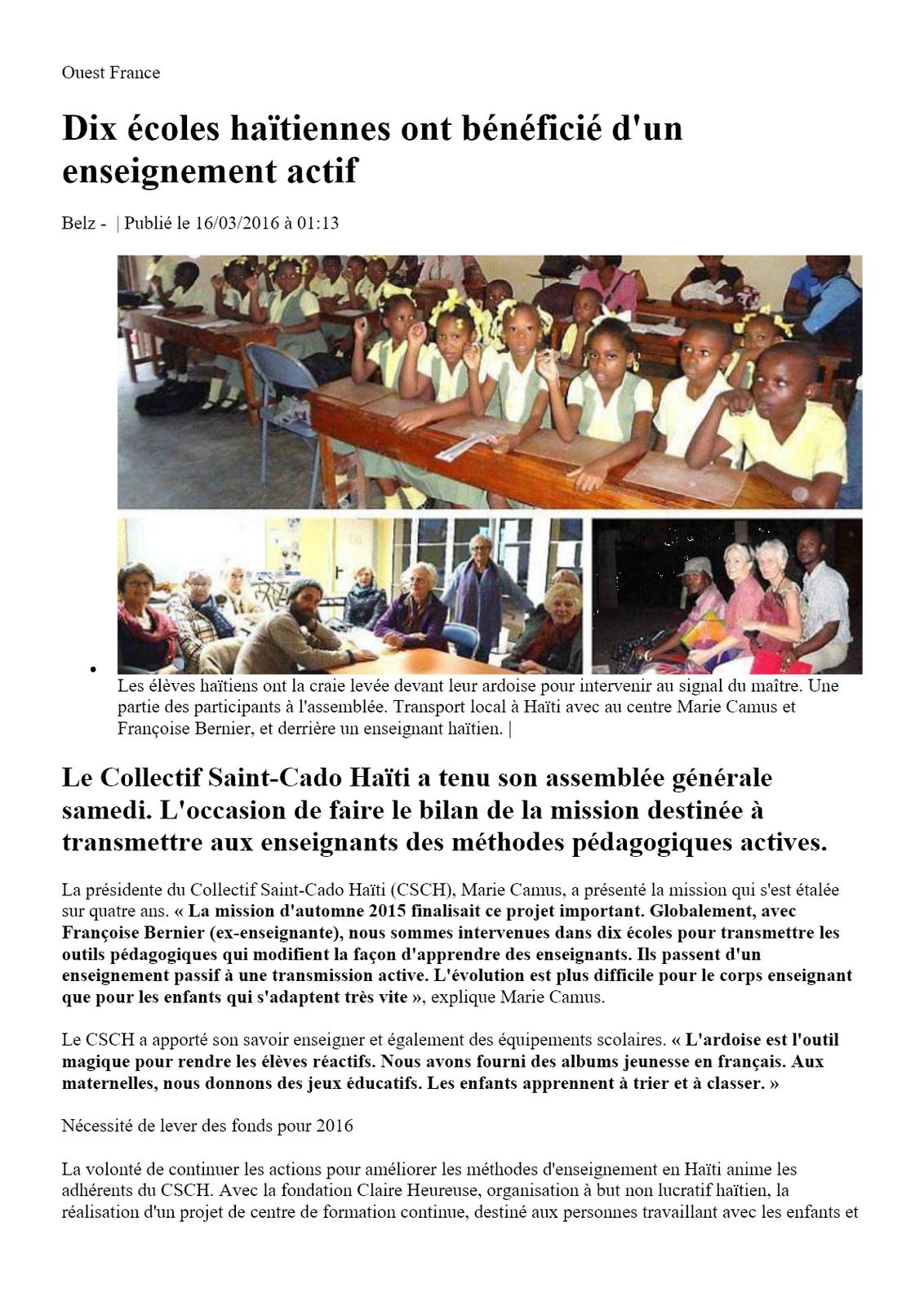 Ouest France :Dix écoles haïtiennes ont bénéficié d'un enseignement  actif  Belz -  16/03/2016