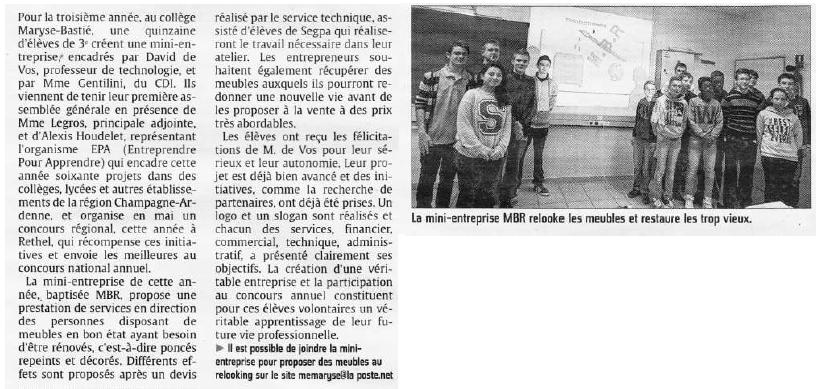 MBR, la mini-entreprise du collège Maryse Bastié