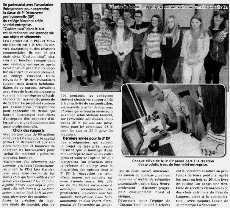 """Chalindrey - Collège : """"Custom tout"""" une mini-entreprise est né"""