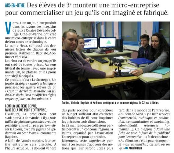 4 collégiens d'Aix-en-Othe créent &quot&#x3B;le Stratège&quot&#x3B;