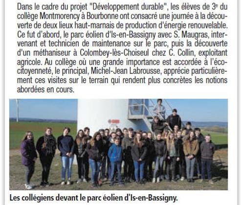 Des collégiens de Montmorency à la découverte des énergies renouvelables