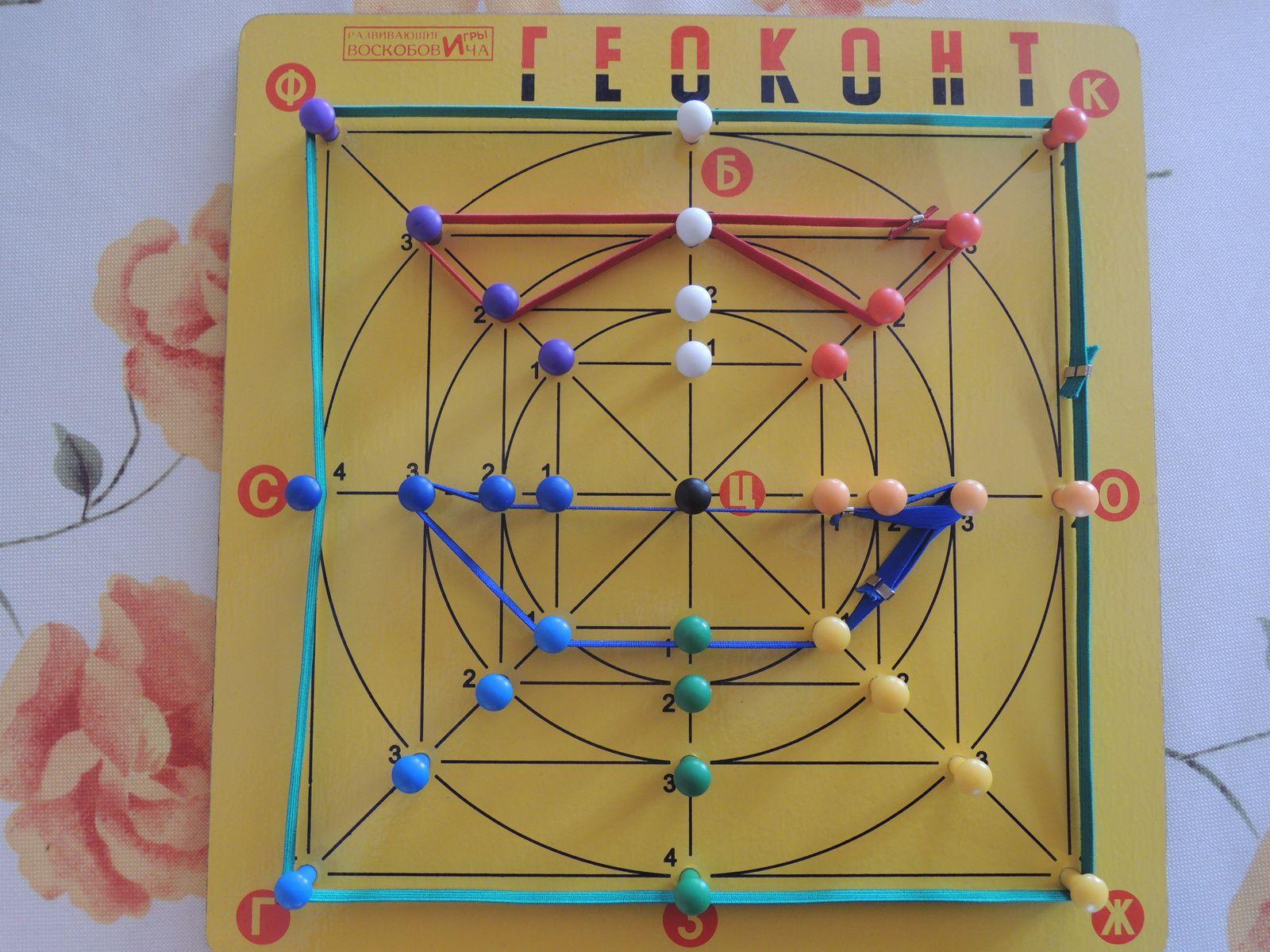 Cette planche géométrique, je l'ai amenée de Russie, c'est pour ça qu'elle est avec des lettres cyrilliques. Mais on peut la fabriquer soi-même, on trouve facilement les explications sur Internet.