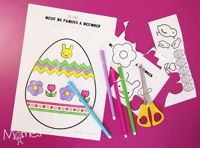 Oeufs de Pâques. Coloriage, découpage, collage à télécharger.