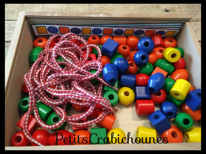 Fiches modèles de perles à enfiler, téléchargement gratuit. Grosses perles en bois enfants maternelle.