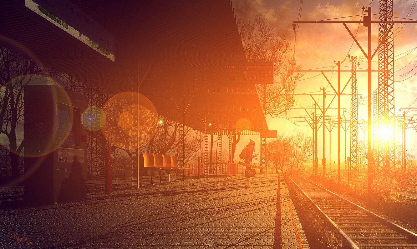 Gare - Rails -  Femme - Coucher de soleil - Wallpaper - Free