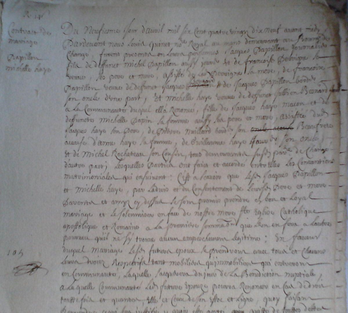 registre de Louis Quinet, notaire à Changé en 1699 ( 4 E 59/385)