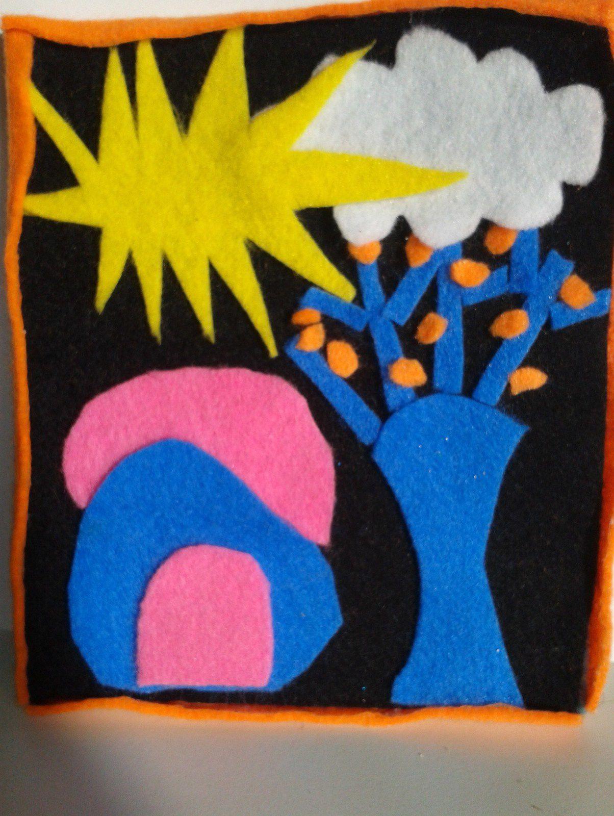 technique mixte : craies, encre, acrylique, éponge, gouache, crayon de couleur.