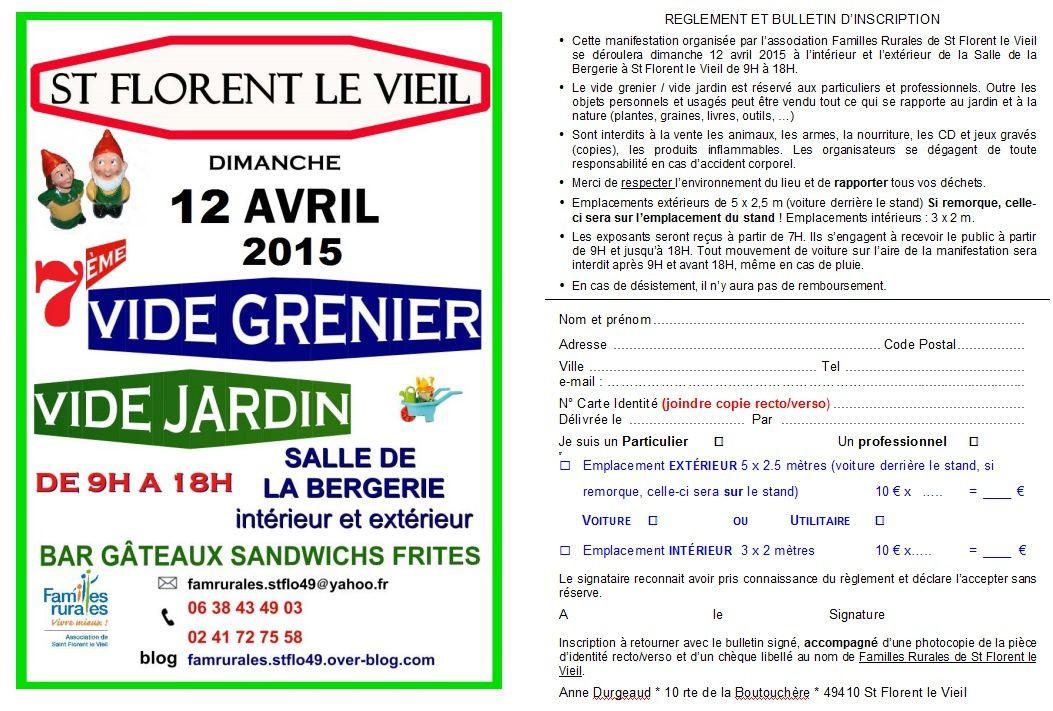 Bulletin d'inscription vide grenier - vide jardin, édition 2015