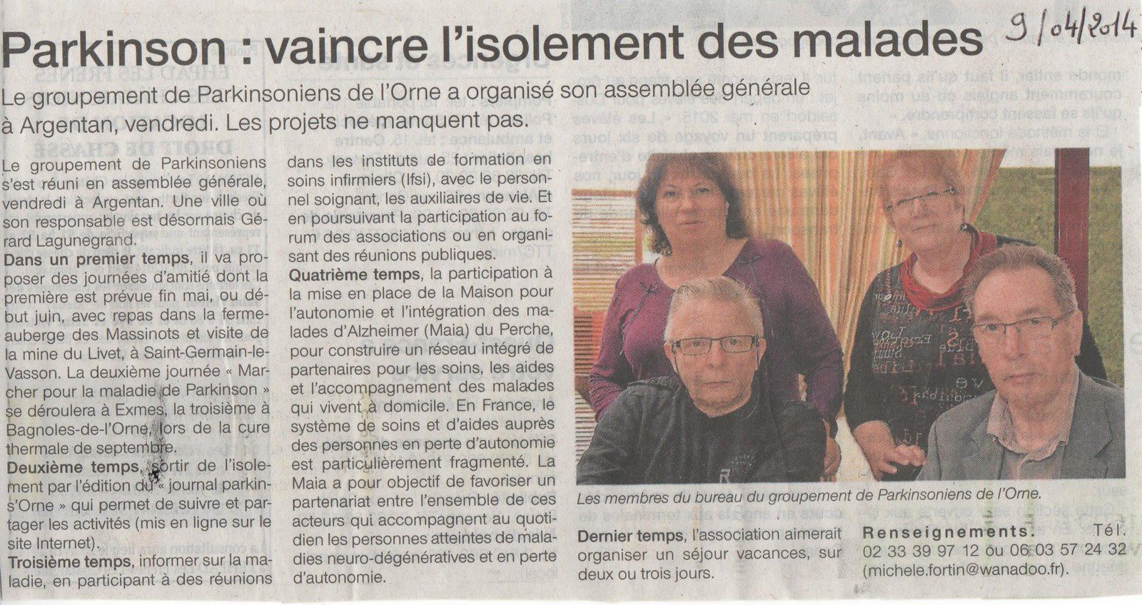 Article Ouest France AG du GPO Avril 2014