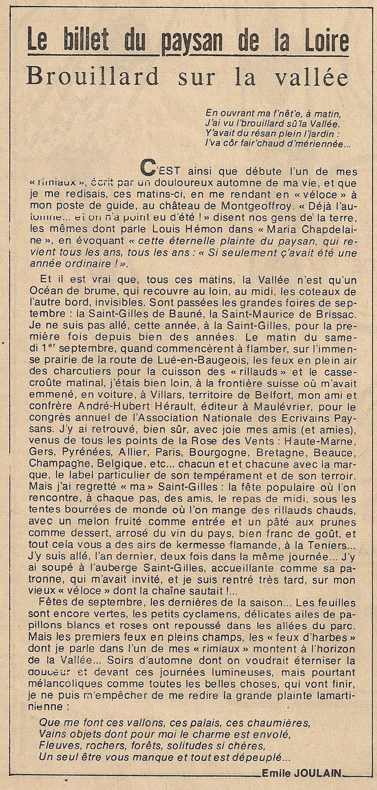 le billet du paysan de la Loire, septembre 1979