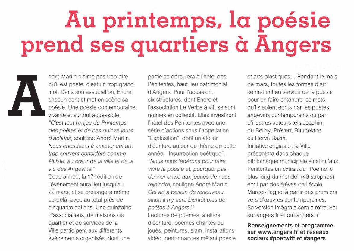 Au printemps, la poésie prend ses quartiers à Angers