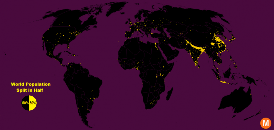 la moitié de la population mondiale vit sur 1% du territoire disponible