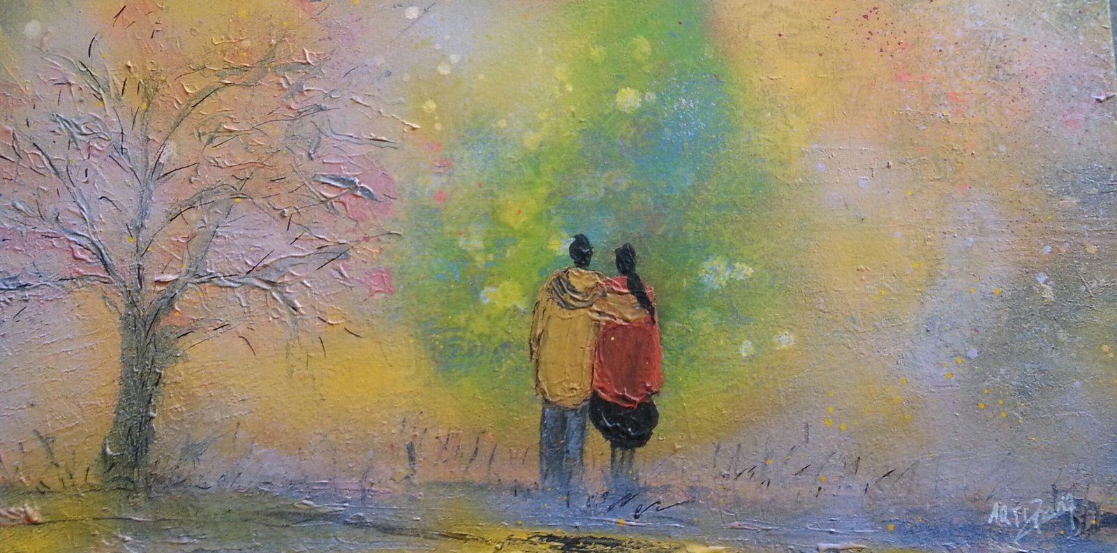 """""""Les amoureux"""", technique-mixte sur toile, format : 30x60, prix : 190 euros"""